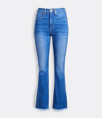 LOFT Back Slit Flare Crop Jeans in Authentic Mid Indigo Wash