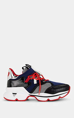 Christian Louboutin Men's Red-Runner Mixed-Material Sneakers - Navy