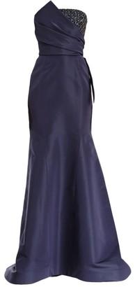 Carolina Herrera Embellished Patch Strapless Silk Mermaid Gown