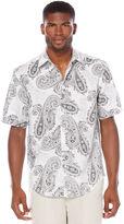Cubavera Linen Cotton Short Sleeve Allover Paisley Print Shirt