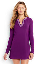 Classic Women's Petite Long Sleeve Swim Tunic Rash Guard-Plum Wine/White