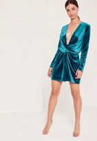 Missguided Velvet Wrap Dress Blue