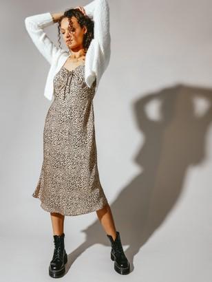 Beyond Her Daichi Midi Dress in Leopard