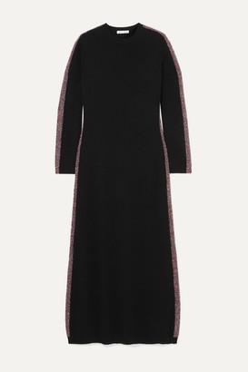Bella Freud Futuristic Metallic Striped Merino Wool-blend Midi Dress - Black