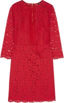 DKNY Silk organza-paneled guipure lace dress