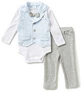 Edgehill Collection Baby Boys Newborn-6 Months 3-Piece Bow-Tie Bodysuit, Vest & Pants Set