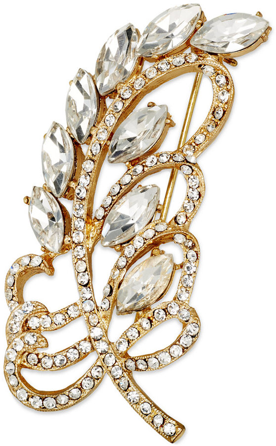 Charter Club Gold-Tone Crystal Feather Pin