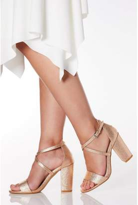 Quiz Wide Fit Rose Gold Faux Leather Cross Strap Heeled Sandals