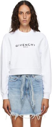 Givenchy White Paris Logo Cropped Sweatshirt
