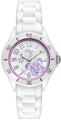 S'Oliver Girls' Analogue Quartz Watch with Silicone Strap SO-2755-PQ