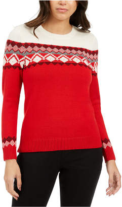 Charter Club Colorblocked Fair Isle Sweater