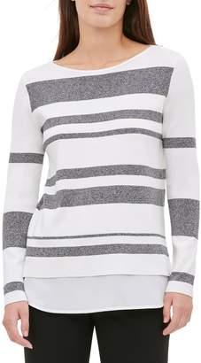 Calvin Klein Striped Twofer Sweater