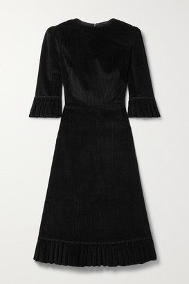 The Vampire's Wife Festival Ruffled Cotton-corduroy Midi Dress - Black
