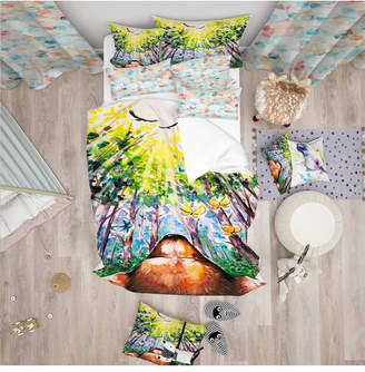 Designart 'Brown Dog In Forest' Modern Kids Duvet Cover Set - Queen Bedding