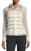 RED Valentino Long-Sleeve Ruffle-Trim Button-Front Tulle Blouse