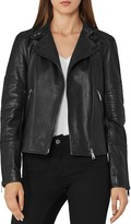 Reiss Taylor Quilted-Sleeve Biker Jacket