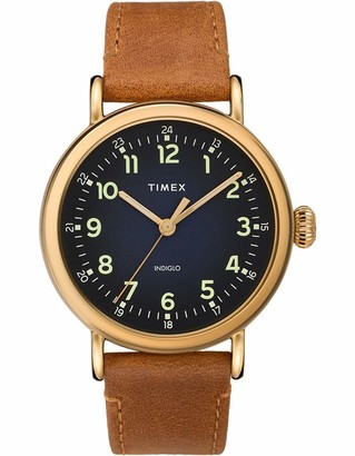 Timex Men's Standard 40mm Watch Black Dial & Silver-Tone Case with Black Genuine Leather Strap
