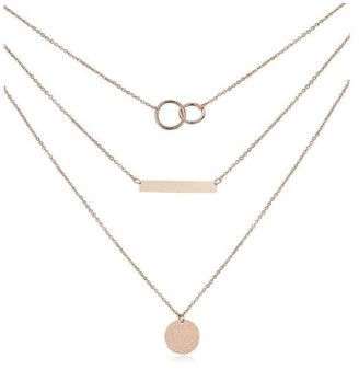 Haus Of Deck Layered Sterling Silver Plated Bar & Circle Necklace