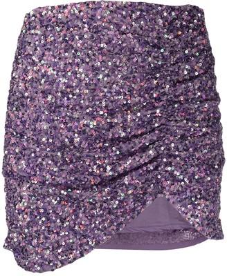 retrofete Sequin Embroidered Draped Mini Skirt