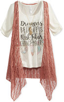Beautees 3-Pc. T-Shirt, Vest & Necklace Set, Big Girls (7-16)
