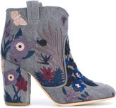 Laurence Dacade embroidered ankle boots - women - Cotton/Leather - 36