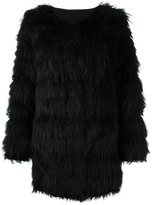 Meteo By Yves Salomon marmot and lamb fur feathered coat