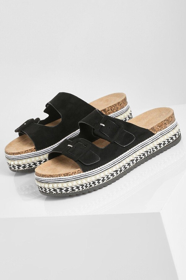 Thumbnail for your product : boohoo Double Buckle Chunky Flatforms