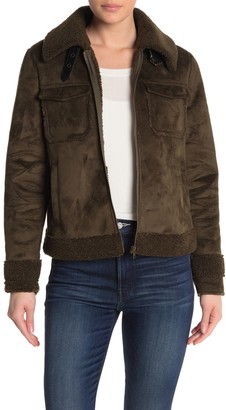 Mother The Four Corners Faux Shearling & Faux Suede Bomber Jacket