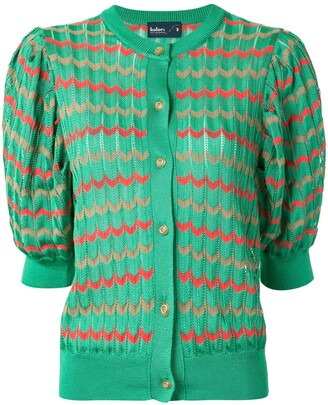 Kolor Chevron Pattern Puff-Shoulder Cardigan