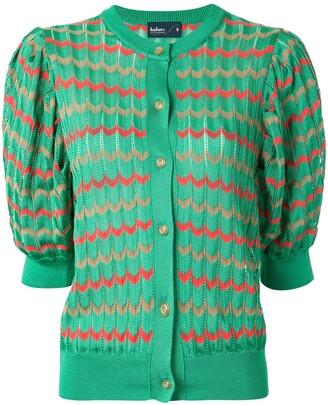 Kolor chevron pattern puff-shoulder cardigan