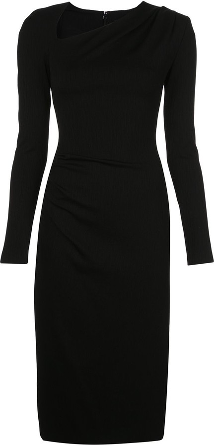 Christian Siriano Fitted Ruched Midi Dress