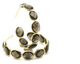 Tresor Collection - 18K Yellow Gold Medium Gemstone Hoop Earrings In Smoky Quartz