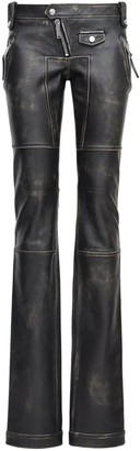 DSQUARED2 Vintage Effect Leather Biker Pants