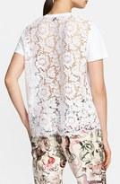 Valentino Women's Lace Back Cotton Short Sleeve Tee
