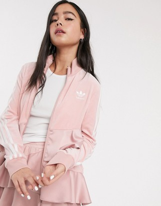 adidas x J KOO velour trefoil ruffle track top in pink