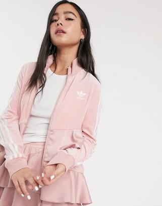 adidas x J KOO velour trefoil ruffle track top in pink