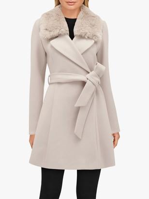 Forever New Jenna Faux Fur Collar Coat, Mink