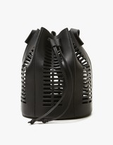 Mini Oval Die Cut Bucket Bag in Black