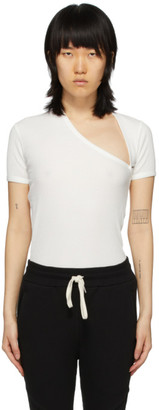 John Elliott White Cotton Rib Asymmetrical T-Shirt