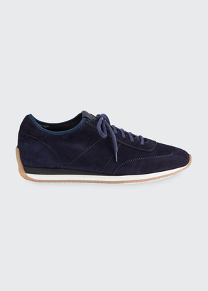 Santoni Men's Pause Stretch-Suede Sneakers