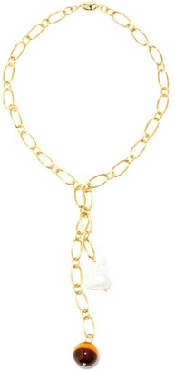 Timeless Pearly Pearl & Gold-plated Lariat Necklace - Gold Multi