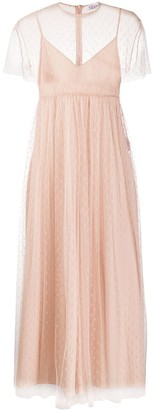 RED Valentino Point D'esprit Pleated Tulle Dress