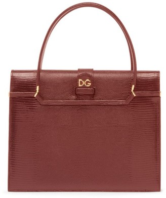 Dolce & Gabbana Lizard-Embossed Leather Satchel
