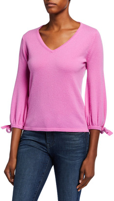 Neiman Marcus Cashmere V-Neck 3/4 Tie Sleeve Pullover Sweater