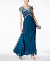 J Kara Hand-Beaded A-Line Gown
