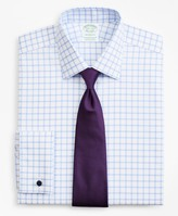Brooks Brothers Stretch Milano Slim-Fit Dress Shirt, Non-Iron Twill Ainsley Collar French Cuff Grid Check