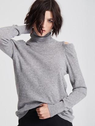 Halston Drape Cold Shoulder Long Sleeve Turtleneck Sweater
