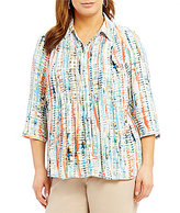 Investments Plus 3/4 Sleeve Pintuck Blouse