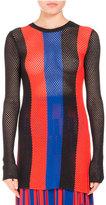 Proenza Schouler Striped Mesh-Knit Sweater, Geranium/Sapphire