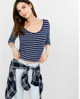Express striped one eleven double scoop tee